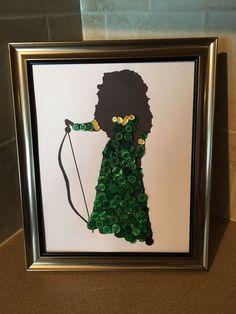 Disney Inspired Merida Silhouette Button Art In Frame.    eBay