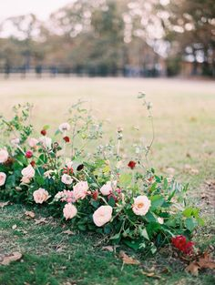 Styling by Silver Lining Events . This wedding is featured on Style Me Pretty . Spring Wedding Flowers, Flower Bouquet Wedding, Floral Wedding, Wedding Decor, Enchanted Garden Wedding, Aisle Flowers, Flower Installation, Woodland Wedding, Flower Centerpieces