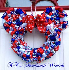 Patriotic Minnie Mouse Ribbon Wreath by KKsHandmadeWreaths on Etsy, $30.00