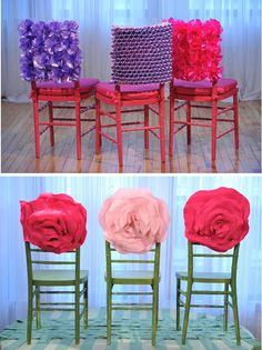 Love these chair cover ideas! Much bette then draping fabric over them! By Preston Bailey