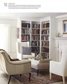 Library corner. Maybe around the corner and not just the back wall. Love this look.