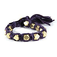 Violet Vintage Ribbon Large Faceted Beads Knotted Bracelet #ettika #rocker #rockandroll #jewelry #accessories #violet