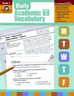 Daily Academic Vocabulary, Grade 3 by Evan-Moor Educational Publishers,http://www.amazon.com/dp/1596732024/ref=cm_sw_r_pi_dp_kJAytb1TD2P9JKKZ