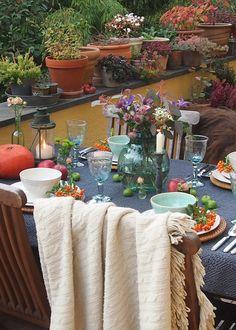 Letzte Herbststimmung Auf Der Terrasse