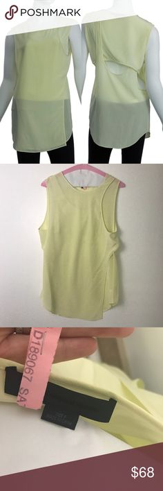Alexander Wang Yellow cross back silk top In perfect condition.  The tags were pulled but it was never worn.  It has been dry cleaned. Alexander Wang Tops Blouses