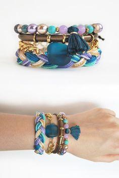 Boho bracelet stack, violet and turquoise set of bracelets, stacking bracelets, bohemian festival jewelry, wrist party