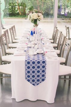 Graphic navy table runner with small pops of pink Wedding Table Decorations, Wedding Table Settings, Wedding Themes, Wedding Centerpieces, Wedding Ideas, Wedding Art, Wedding Receptions, Wedding Photos, Art Gallery Of Hamilton