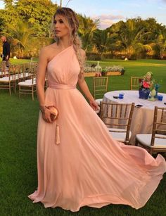One Shoulder Chiffon Formal Occasion Party Dress prom