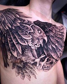 Black and grey hawk tattoo Chest Tattoo Butterfly, Chest Tattoo Tiger, Chest Tattoo Birds, Chest Tattoo Clouds, Chest Tattoo Flowers, Mandala Chest Tattoo, Rose Chest Tattoo, Cloud Tattoo, Cool Chest Tattoos