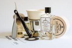 Kai folding razor, Simpson Keyhole badger brush, Taylor of Old Bond St. preshave oil, DR Harris Arlington shave cream and aftershave, Feb. 26, 2014