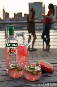 Try this easy and delicious spicy watermelon jalapeno cocktail at your end of the summer party. Or serve it up as a punch for everybody at your next BBQ or backyard get together. Recipe: 1.5oz Smirnoff Watermelon, 3oz Pink Lemonade, Splash of Lime Juice, Sliced Jalapenos for Garnish.
