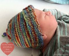 Not only is this adorable little knit baby hat pattern free, it's also designed to fit much longer - what's not to love?