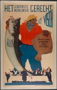 """""""Eat fish"""", the propaganda committee for sea fish, Antwerp {1946-1960} (Commercial & advertising posters Belgium) #Booktower"""