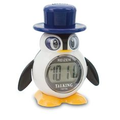 Reizen LCD Talking Alarm Clock- Penguin Style - Talking Clocks - MaxiAids