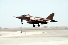 An RAF Jaguar from No. 41 Squadron deployed in the Middle East, taking off to participate in Desert Shield.