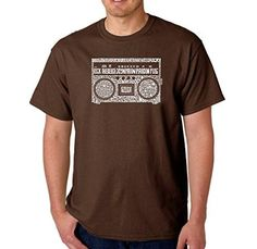 Men's Graphic Novelty T-shirt Tees 100% Cotton - Greatest Rap Hits of The 1980's - Brown - Large