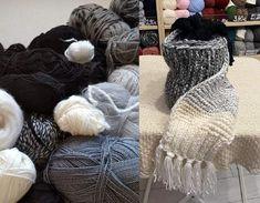 Pletený dlhý šál zo zvyškov od čiernej až po bielu so strapcami. Knit long shawl from black to white, upcycling leftover yarn, needles number 10 Merino Wool Blanket