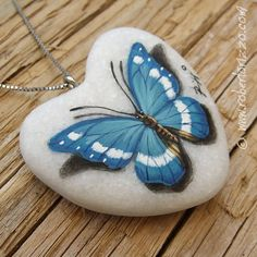 Heart Shaped Blue Butterfly Pendant   Hand Painted Jewels by Roberto Rizzo