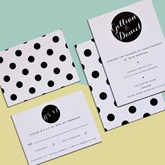 The Polka Dot Dotty wedding invitation centres around the monochrome, classic polka dot. This bold and minimal invitation is ideal for a couple looking to inject some fun and retro artwork into their wedding day.