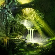 forest and jungle scenery within concept art usually helps design levels with greenery within them, which usually have a green and yellow colour palette to accentuate the vines and the trees within the artwork