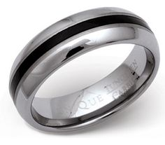 7mm Tungsten Carbide and Black Enamel Ring