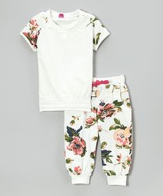 Love this White Floral Raglan Tee & Cuffed Pants - Toddler & Girls by Dolce Liya on #zulily! #zulilyfinds