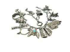 Theme Charm Bracelet. Cowboy & Indian. Sterling by bohemiantrading