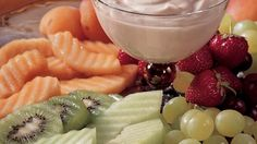 You'll love this healthful-minded dessert!  This eye-catching platter has 6 varieties of fresh fruit and an easy sour cream dip.