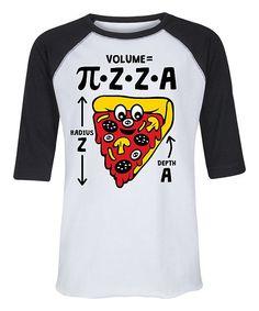 White & Black Pizza Pie Math Raglan Tee - Toddler & Kids Raglan Tee, Pizza, Math, Tees, Mens Tops, T Shirt, Black, Products, Fashion
