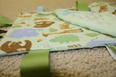Sensory Ribbon Tag Blanket in Animal Flannel and by SeamsDivine, $12.00