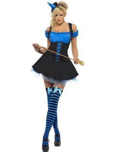 Fever wicked witch blauw zwart heksenkostuum.