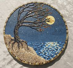 Windy Night | mixed media mosaic, using eggshell, pebble gla… | Flickr