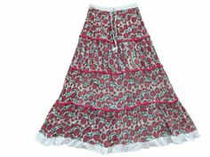 Amazon.com: Boho Maxi Skirts Four Tiered Lace Work Cotton Crinkle Gypsy Skirt: Clothing