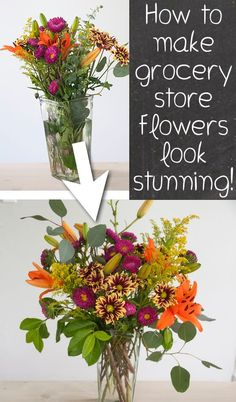 #13. Learn how to make grocery store flowers look gorgeous! -- 13 Clever Flower Arrangement Tips & Tricks