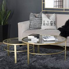 Studio Designs Home Corbel Modern Round Nesting Coffee Table Set (Steel - gold / clear glass - Assembly Required) Round Nesting Coffee Tables, Nesting Tables, Round Glass Coffee Table, Large Table, Small Tables, Furniture Making, Living Room Furniture, Mod Living Room, Table Dimensions