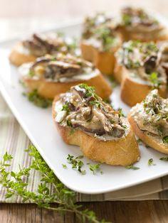 Shiitake Ragout on Chevre Crostini - Delicious, easy Fall recipe with ...