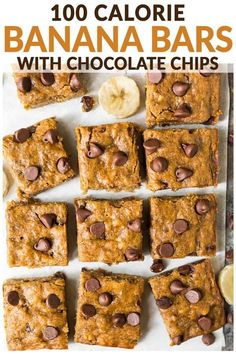 Healthy Banana Bars with Chocolate Chips. Moist, chewy, and easy to make. Kids love them and they are perfect for healthy desserts and snacks! Top with peanut butter frosting or brown butter frosting or enjoy them just as they are. One of the best skinny Dessert Oreo, Banana Dessert Recipes, Low Carb Dessert, Healthy Dessert Recipes, Healthy Sweets, Healthy Baking, Gourmet Recipes, Healthy Desserts With Bananas, Banana Recipes For Kids