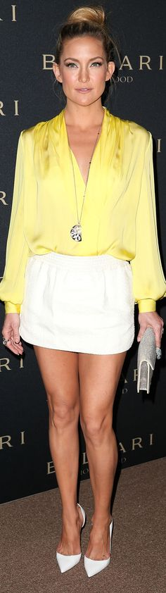 Bright yellow and white is the springiest color comb out there - love this on Kate Hudson