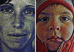 Daigh's push-pin portraits come alive as you step away. Full of color and exquisitely composed, each portrait takes in the range of 10,000 push-pins and weeks to compose