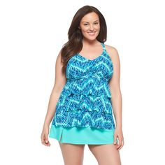35bf843d24b63 Plus Size Chevron Ikate Tiered Tankini Swim Top-VM Plus Size Chevron