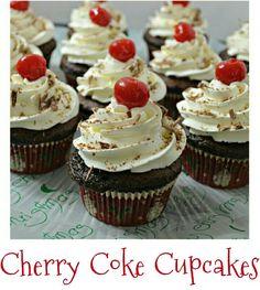 Cherry Coke Cupcakes #food #coke #desserts #cupcakes #cherry #cherries #recipes #dinner #cake #chocolate #frosting #yumm