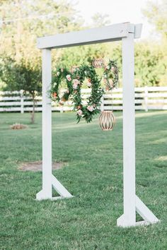 These wreaths are a sweet detail with pops of flowers