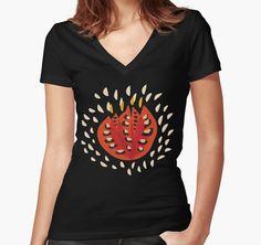 Abstract Red Tulip V-neck T-Shirt by Boriana Giormova