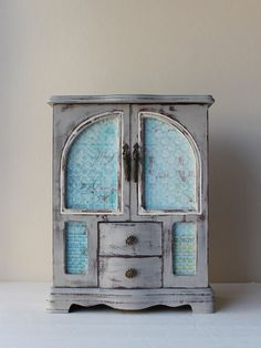 Large Hand Painted Paris Gray French Style Jewelry Box by lovedodo
