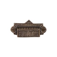 This antique brass finish cast brass cabinet/drawer cup pull with eastlake design is part of the Drawer Pulls Collection from Brass Elegans. Capturing the beauty of all things antique, this bin pull is perfect for restoration projects, vintage furniture, drawers & cabinets.