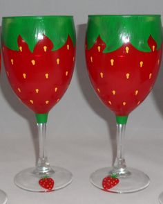Items similar to Adorable Strawberry Wine Glasses (Set of on Etsy Strawberry Wine, Strawberry Fields, Strawberry Shortcake, Wine Candles, Strawberry Decorations, Cute Kitchen, Beer Mugs, Painted Wine Glasses, Hand Painting Art