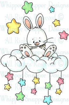 Bunny on a Cloud with Stars Above & Below Easter Art, Easter Crafts, Drawing For Kids, Art For Kids, Bunny Art, Digi Stamps, Cute Illustration, Baby Cards, Stone Painting