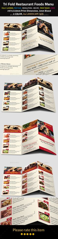 Trifold Restaurant Foods Menu Print, Restaurant and - cafe menu templates free download