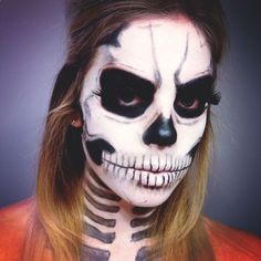 This skeleton make up is a Halloween costume in it itself!