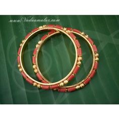 Coral bangles set in micro gold plating pavalam bangle Ruby Jewelry, Gold Jewelry, Jewelery, Jewelry Necklaces, South Indian Jewellery, Indian Jewelry, Bangle Set, Bangle Bracelets, Gold Bangles Design